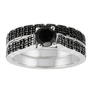 Sterling Silver 1 1/2ct TDW Pave Black Diamond Ring Set
