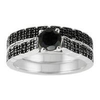 Sterling Silver 1 1/2ct TDW Pave Black Diamond Ring Set