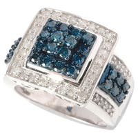 Sterling Silver 1.25ct TDW Blue and White Multi Stone Diamond Ring