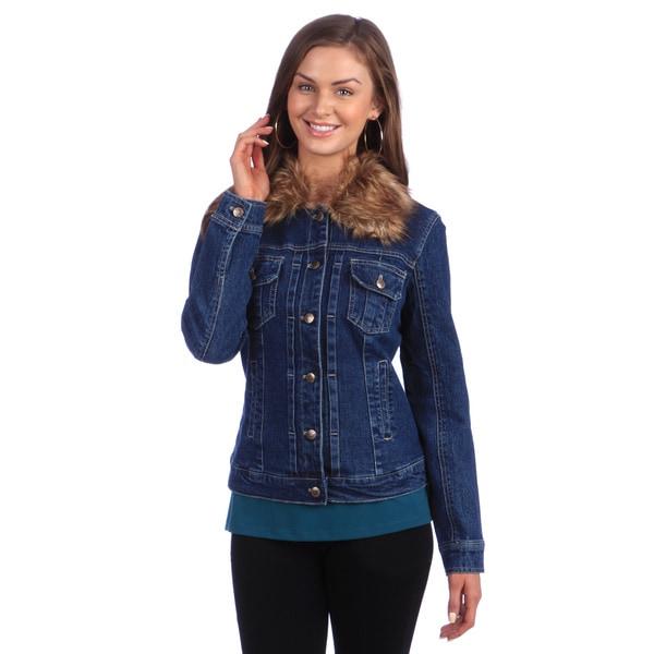Live A Little Women's Faux Fur Collar Denim Jacket