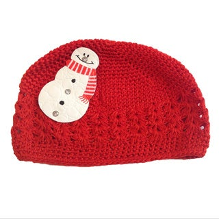 Mini e Boutique Leather Snowman Crocheted Hat