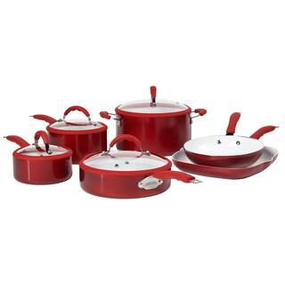 Bella Red 10 Piece Aluminum Cookware Set Free Shipping