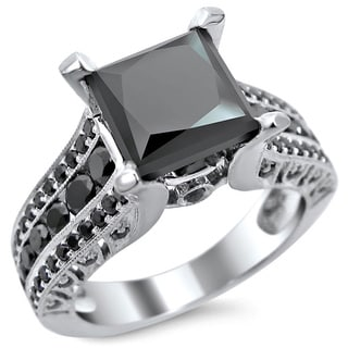 Noori 14k White Gold 3ct TDW Certified Princess Cut Black Diamond Ring