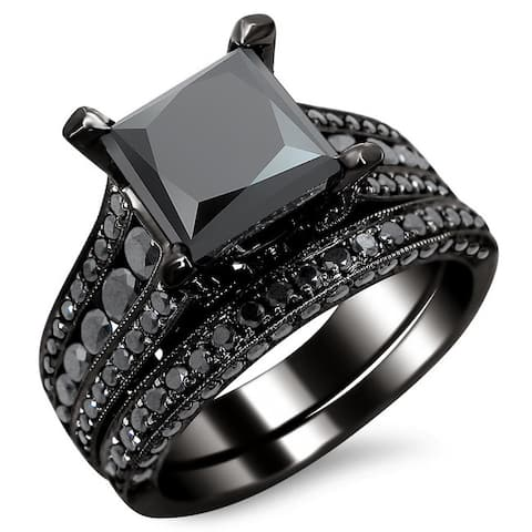 Noori 14k Black Gold 3 7/8ct TDW Certified Princess-cut Black Diamond Bridal Set