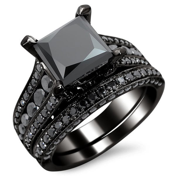noori 14k black gold 3 78ct tdw certified princess cut black diamond bridal - Black Diamond Wedding Ring Set
