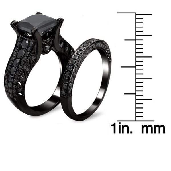 Noori 14k Black Gold 3 7/8ct TDW Black Diamond Princess-cut Bridal Set