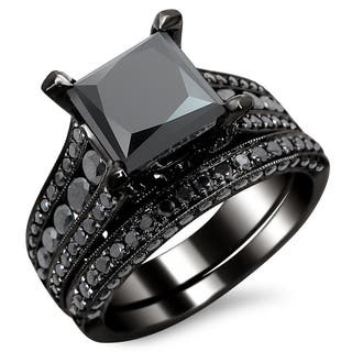 noori 14k black gold 3 78ct tdw certified princess cut black diamond bridal - Black Wedding Ring Set