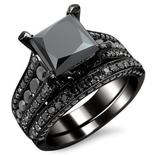 noori 14k black gold 3 78ct tdw certified princess cut black diamond bridal - Princess Wedding Ring