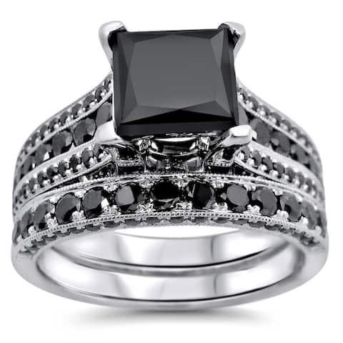 14k White Gold 3.8ct TDW Certified Princess Cut Black Diamond Ring Set