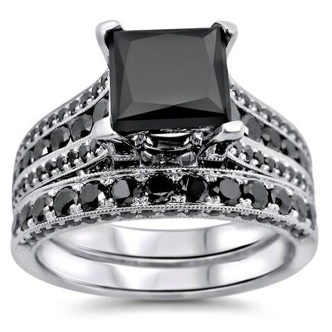 Noori 14k White Gold 3.8ct TDW Certified Princess Cut Black Diamond Ring Set