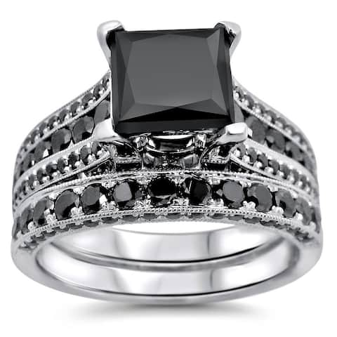 14k White Gold 3.8ct TDW Certified Princess Cut Black Diamond Ring Set