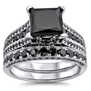 Noori 14k White Gold 3.8ct TDW Certified Princess Cut Black Diamond Ring Set