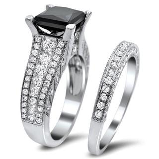 Noori 18k White Gold 4ct TDW Certified Black and White Diamond Bridal Set