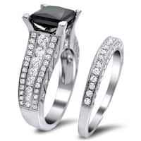 Noori 18k White Gold 4ct TDW Certified Black and White Diamond Bridal Set