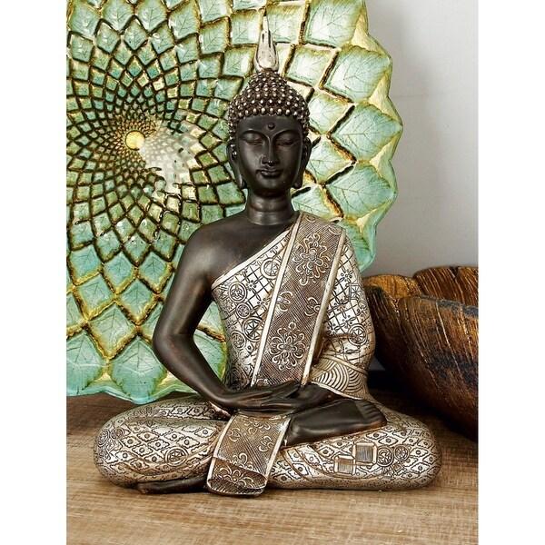 Black/ Silver Polystone 11-inch Buddha Figure