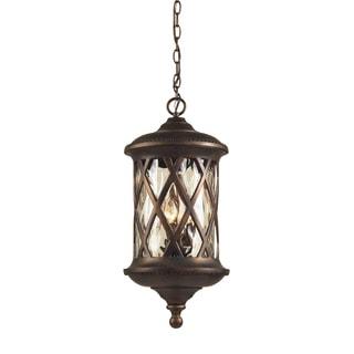 3-light Hazelnut Bronze And Designer Water Glass Outdoor Pendant