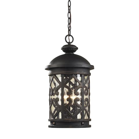 3-light Weathered Charcoal/ Seeded Glass Outdoor Pendant