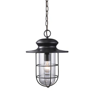 Portside Matte Black 1-light Outdoor Pendant
