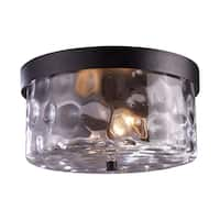 Grand Aisle 2-light Weathered Charcoal Outdoor Flush Mount Fixture