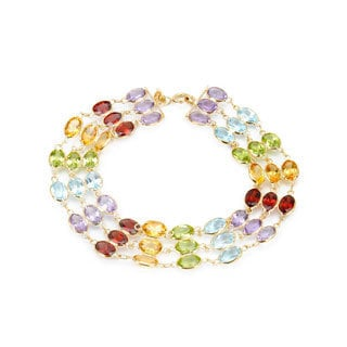 14k Yellow Gold Multi Gemstone Bracelet