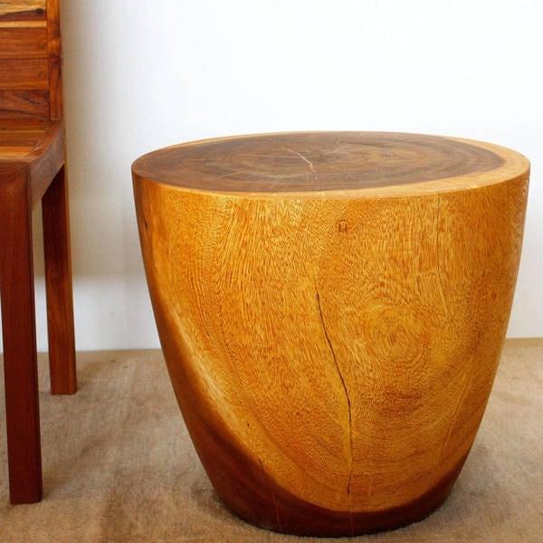 "Handmade Oak Oil Finish Oval Drum Table - 18"" x 20"" (Thailand)"