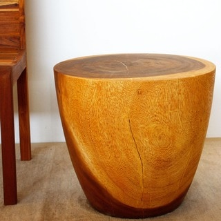 Oak Oil Finish Oval Drum End Table (Thailand)
