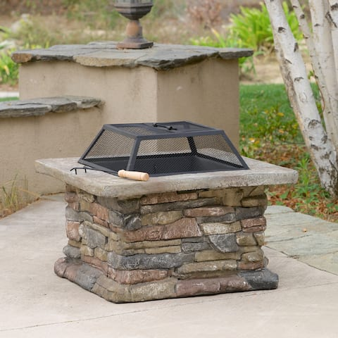 Corporal Natural Stone Square Fire Pit by Christopher Knight Home