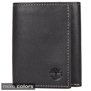 Timberland Men's Genuine Leather Trifold Wallet with Eight Credit Card Slots