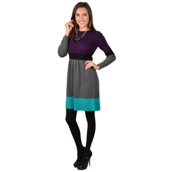 Jessica Howard Women's Long Sleeve Colorblocked Sweater Dress