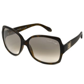 Roberto Cavalli Women's RC651S Ginestra Rectangular Havana/Light Brown Gradient Mirror Lens Sunglasses