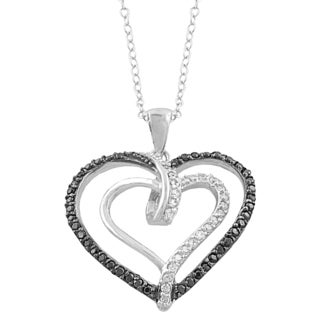 Fremada Rhodium/ Black Plated Sterling Silver Cubic Zirconia and Black Spinel Double Heart Necklace (18 inch)