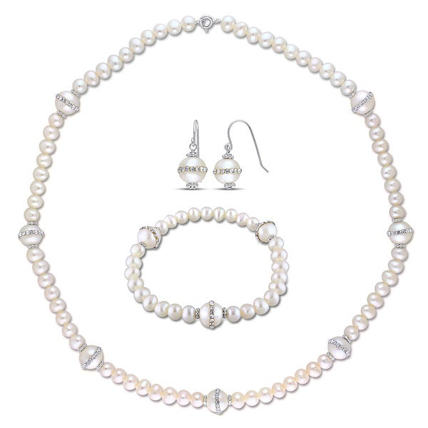 Miadora Sterling Silver Pearl and Crystal Earrings, Necklace and Bracelet Jewelry Set (5-10 mm)