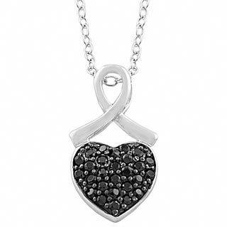 Fremada Rhodium/Black Plated Sterling Silver Black Spinel Heart Necklace (18 inch)