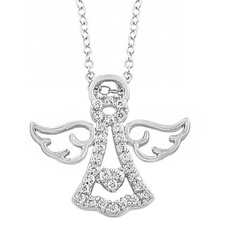 Fremada Rhodium Plated Sterling Silver Cubic Zirconia Angel Necklace (18 inch)