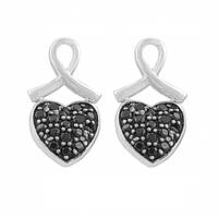 Fremada Rhodium/ Black Plated Sterling Silver Spinel Heart Earrings
