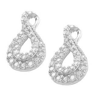 Fremada Rhodium Plated Sterling Silver Cubic Zirconia Infinity Earrings