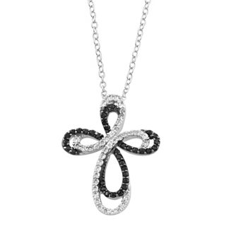 Fremada Rhodium/ Black Plated Sterling Silver Cubic Zirconia And Black Spinel Ribbon Cross Necklace (18 inch)