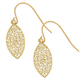 Fremada 14k Yellow Gold Marquise-shaped Filigree Dangle Earrings