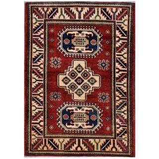 Herat Oriental Afghan Hand-knotted Kazak Rust/ Ivory Wool Rug (2'10 x 4')
