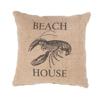 Handmade Lobster Beach House Jute 20x20-inch Throw Pillow