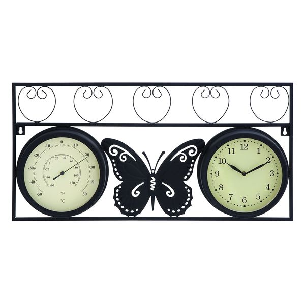 Metal Butterfly Clock Thermometer