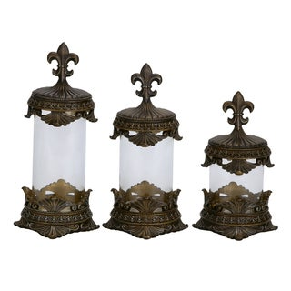 Traditional Polystone Glass Canister Set