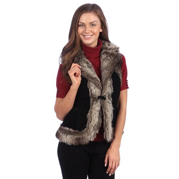 Live A Little Women's Suede and Faux Fur Vest