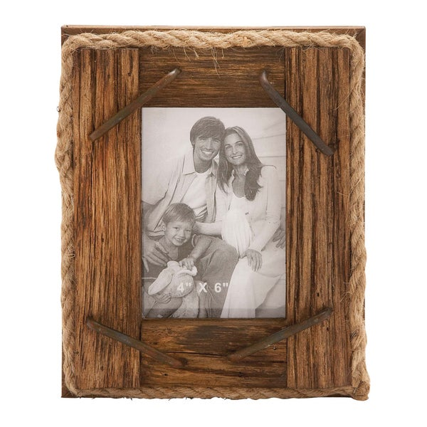 natural wood and rope photo frame