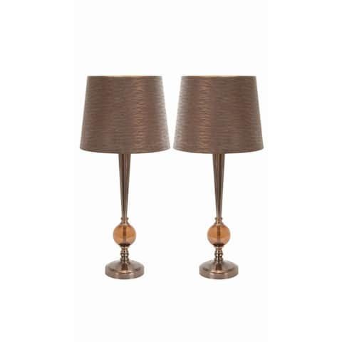 Studio 350 Set of 2, Metal Glass Table Lamp 29 inches high, 12 inches wide
