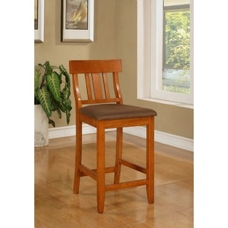 Linon Piedmont Dark Cherry Slat Back Bar Stool