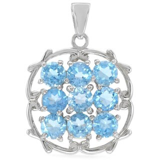 Sterling Silver Blue Topaz Pendant Necklace
