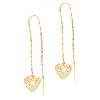 18k Layered Gold Heart Threader Earrings