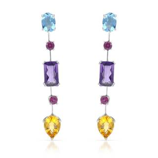 Sterling Silver Multi Gemsone Dangle Earrings