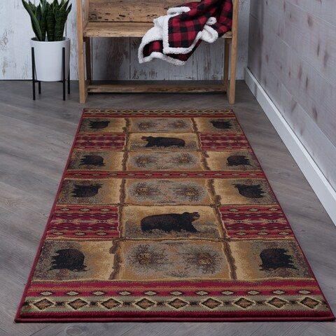 Alise Natural Lodge Red/ Beige Runner - 2'7 x 7'3